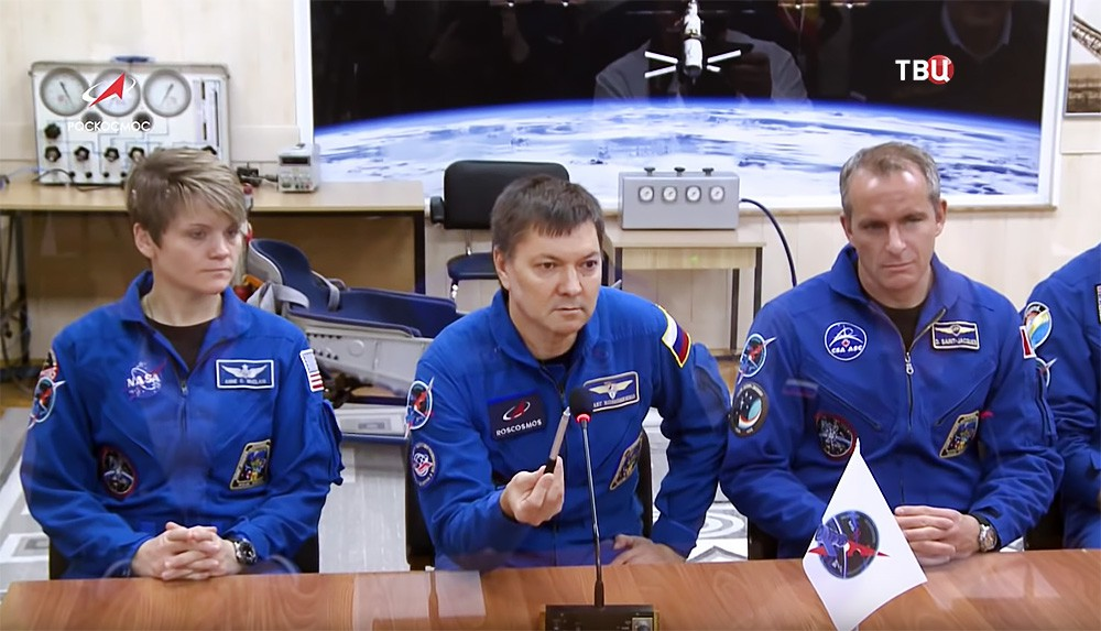 Космонавт Олег Кононенко, астронавты Давид Сен-Жак и Энн Макклейн