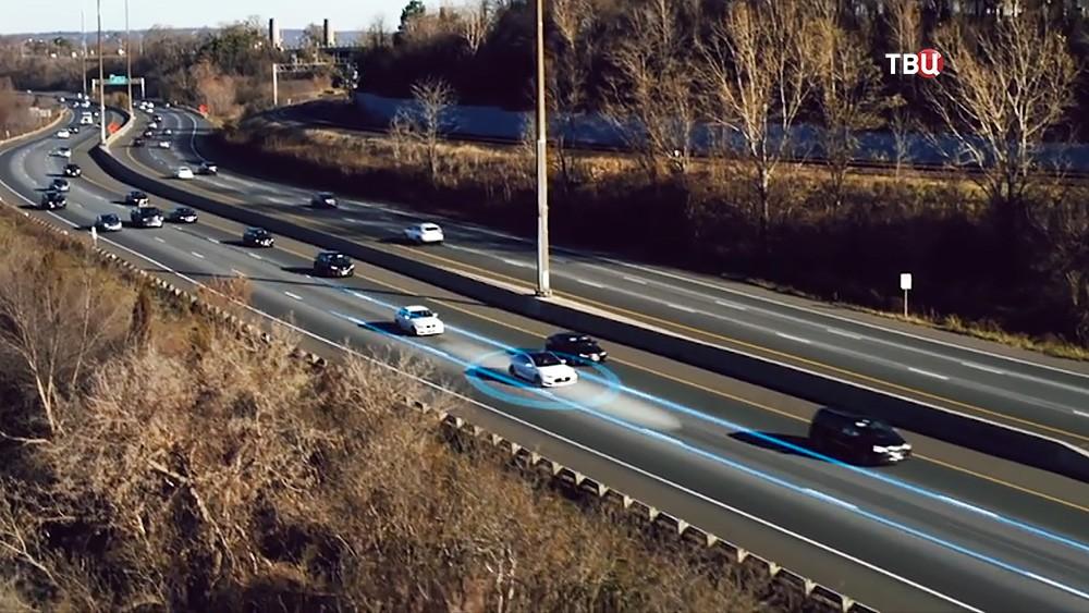 Беспилотный транспорт в потоке машин