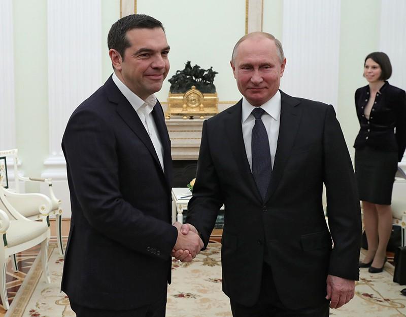 Президент Российской Федерации Владимир Путин и премьер-министр Греции Алексис Ципрас