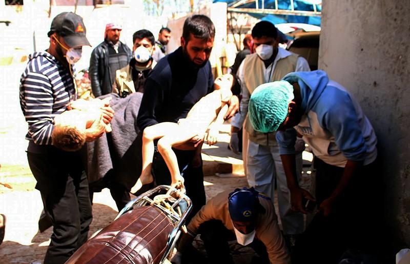 Последствия химической атаки в Алеппо, Сирия