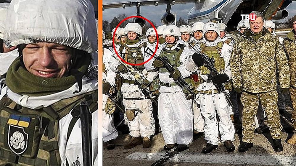 Петр Порошенко и солдаты ВСУ. На форме одного из них нашита эмблема танковой дивизии СС