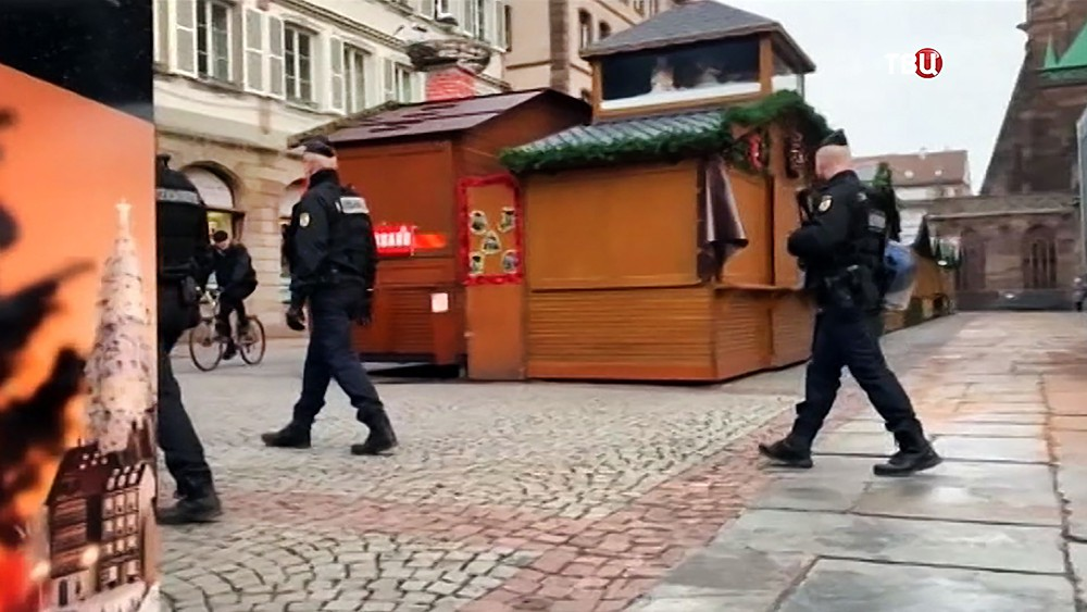 Полиция Страсбурга на месте теракта