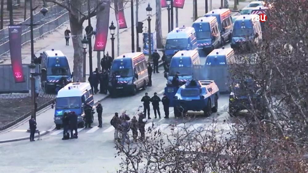 Работа полиции Франции во время уличных протестов