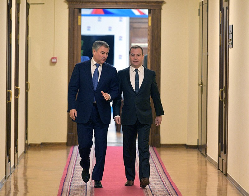 Дмитрий Медведев и председатель Госдумы России Вячеслав Володин