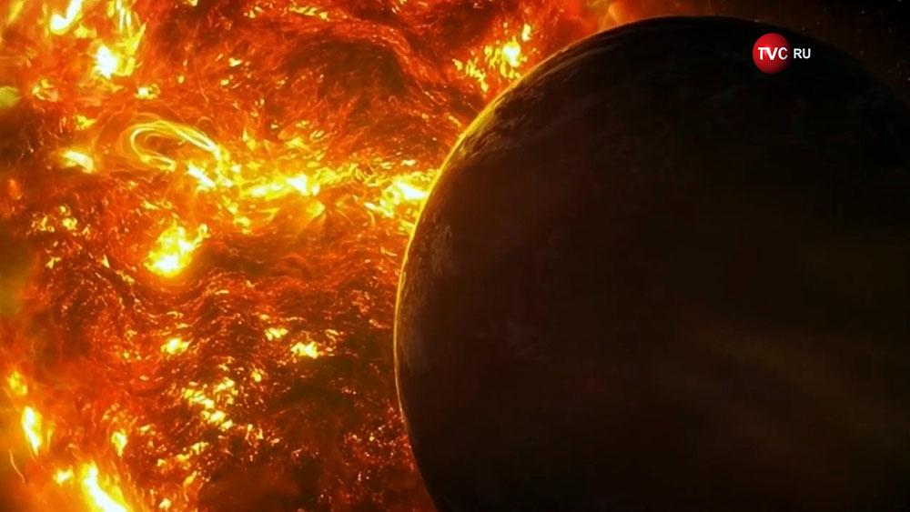 Планета на фоне солнца