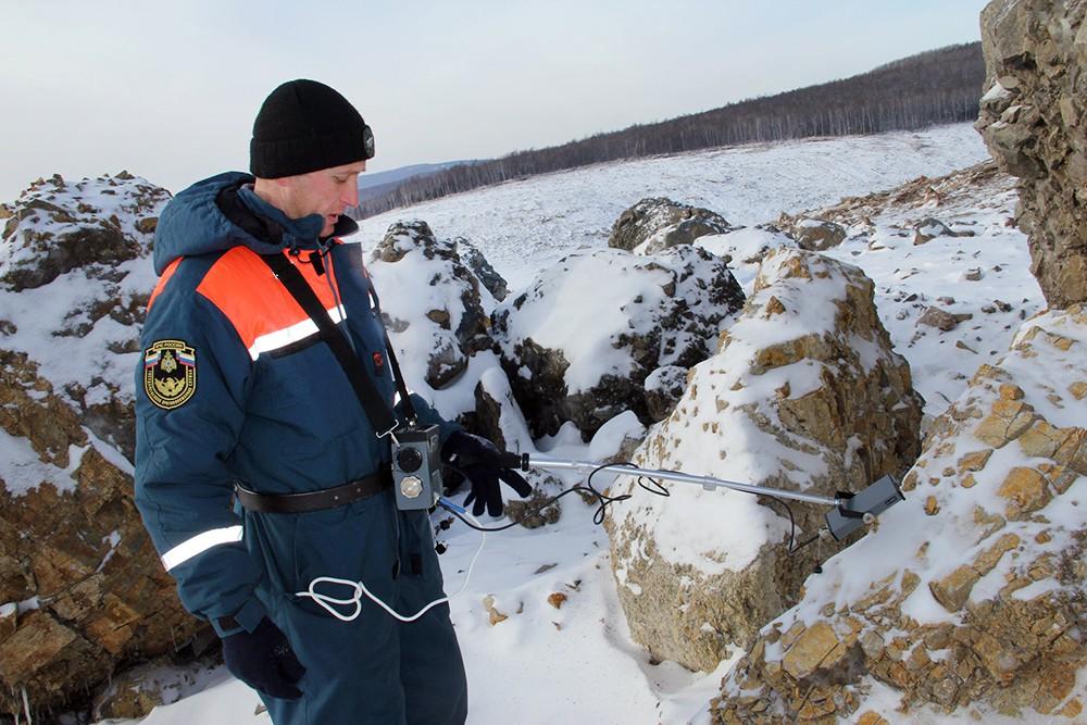 Место мощного схода грунта под Хабаровском