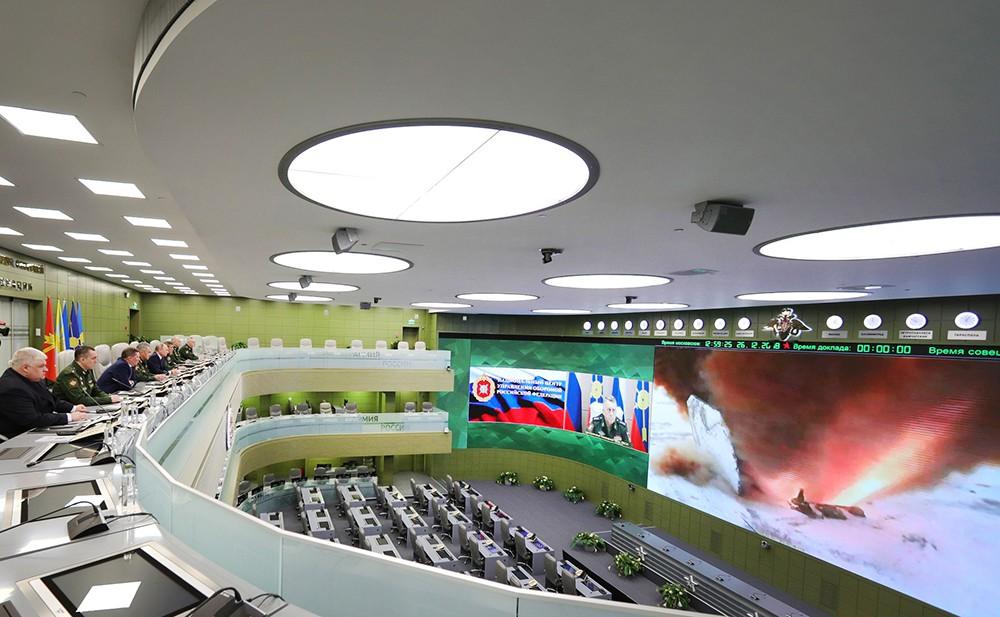 """Наблюдение за пуском ракеты комплекса """"Авангард"""" из Национального центра управления обороной"""