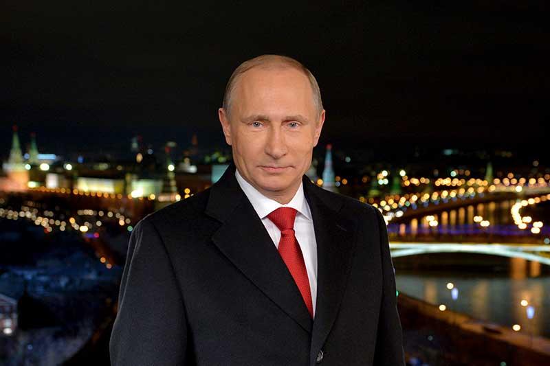Президент России Владимир Путин во время новогоднего обращения к россиянам