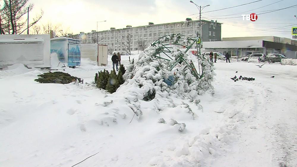 Упавшая новогодняя елка