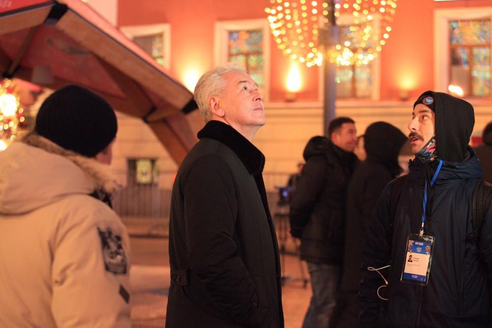 Сергей Собянин на Тверской улице