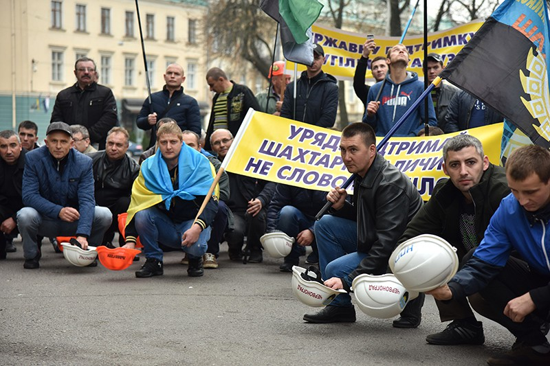 Акция протеста шахтеров на Украине