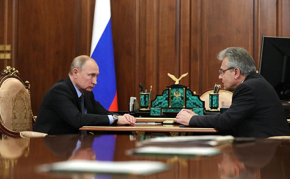 Владимир Путин и президент РАН Александр Сергеев