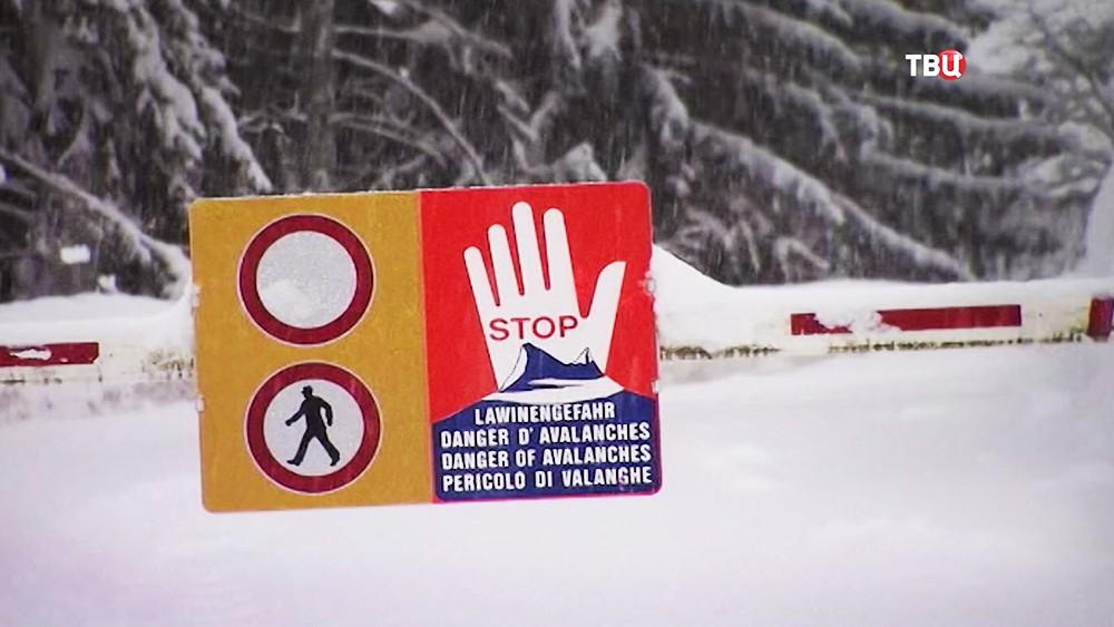Опасность схода лавины в Европе