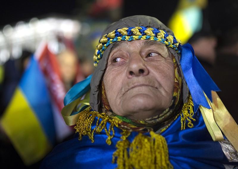 Участница акций сторонников евроинтеграции Украины