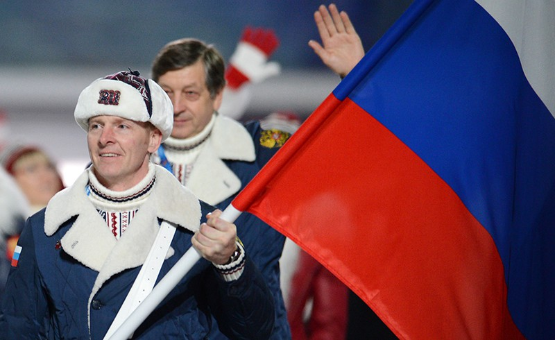 Александр Зубков во время парада атлетов и членов национальных делегаций
