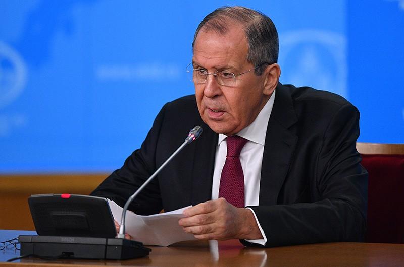 Глава МИД России Сергей Лавров на пресс-конференции в Москве