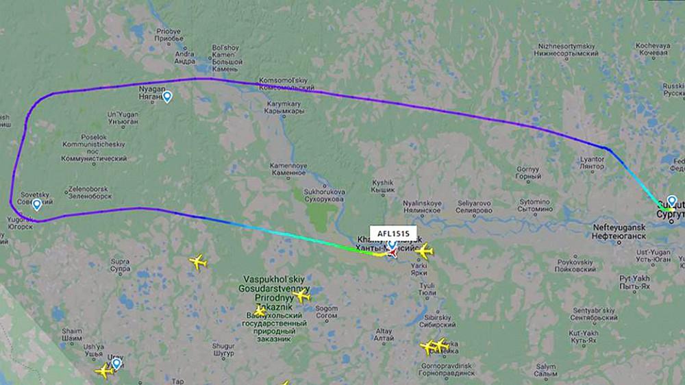 """Траектория захваченного самолета Boeing 737-8LJ авиакомпании """"Аэрофлот"""" (рейс SU1515)"""