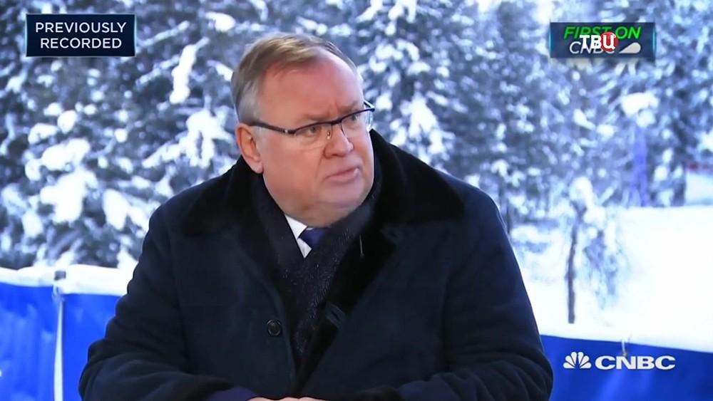 Председатель правления банка ВТБ Андрей Костин на форуме в Давосе