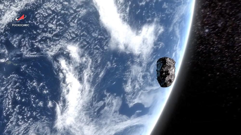 Метеорит на фоне земли