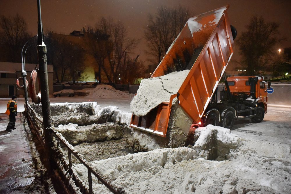 Работа снегоплавильного пункта