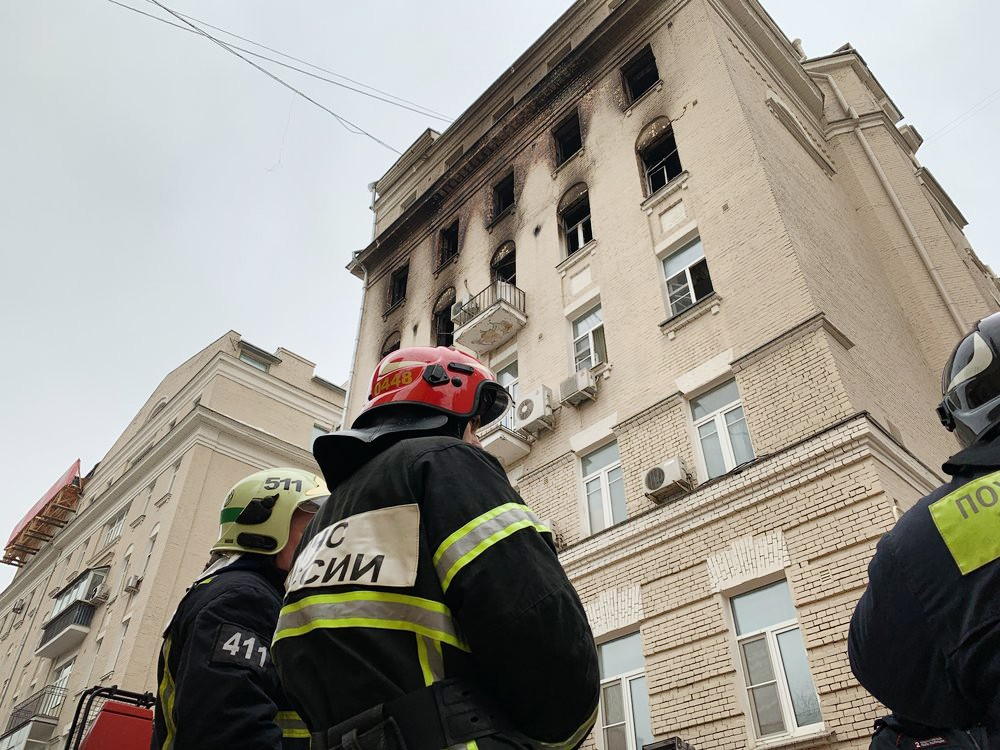 Последствия пожара в доме на Никитском бульваре