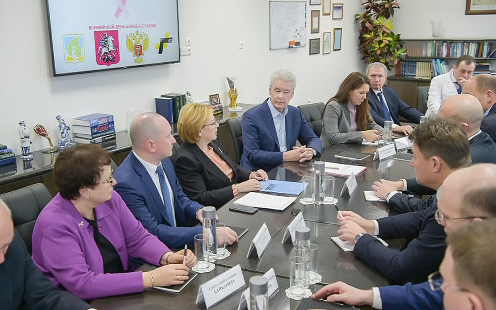 Сергей Собянин и Вероника Скворцова на заседании