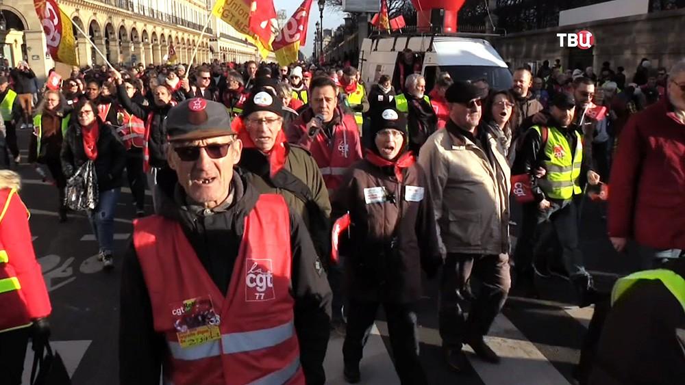 Митинг профсоюзов во Франции