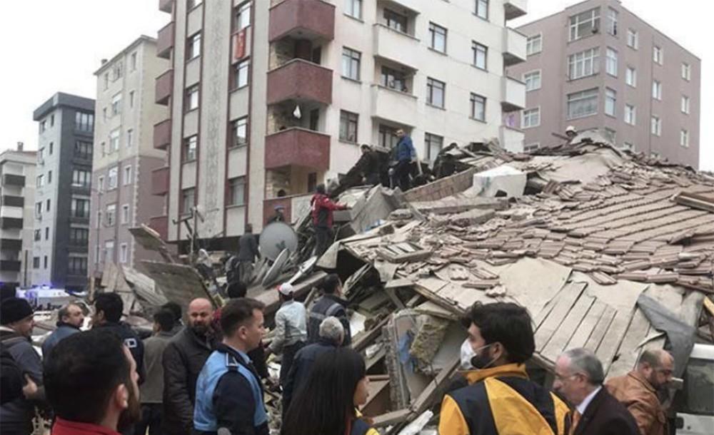 Обрушившийся многоэтажный дом в Стамбуле