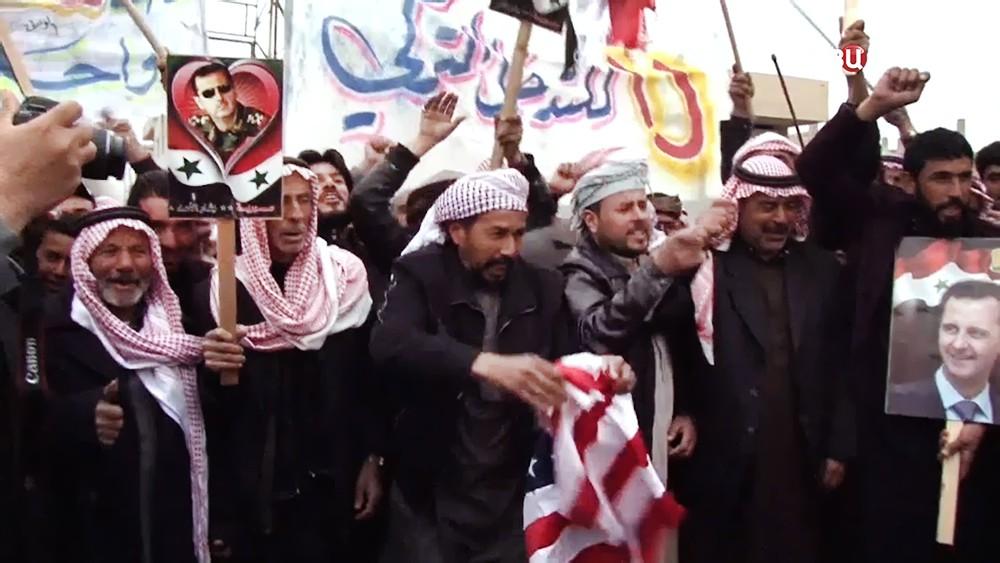 Митинг жителей Сирии против стран-участниц коалиции США