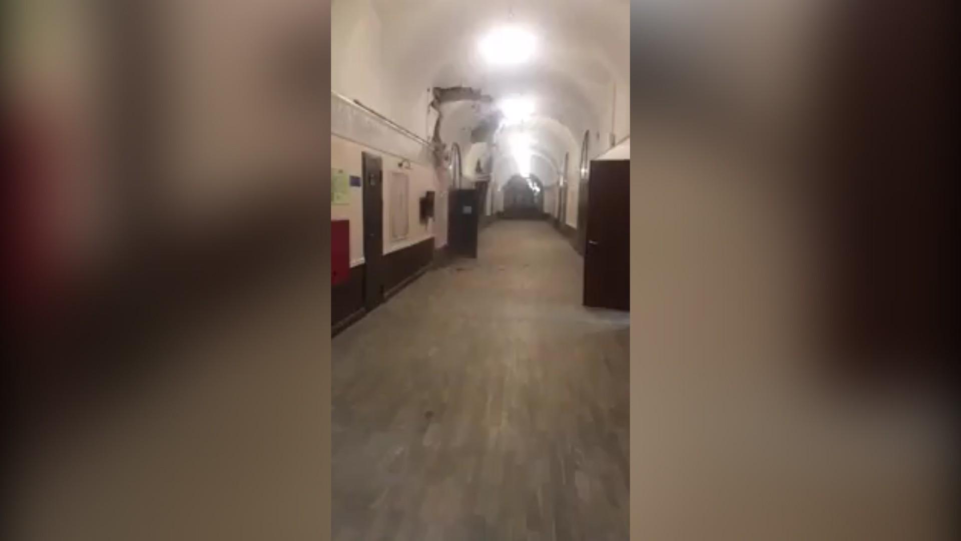 Появилось видео обрушения здания ИТМО в Петербурге