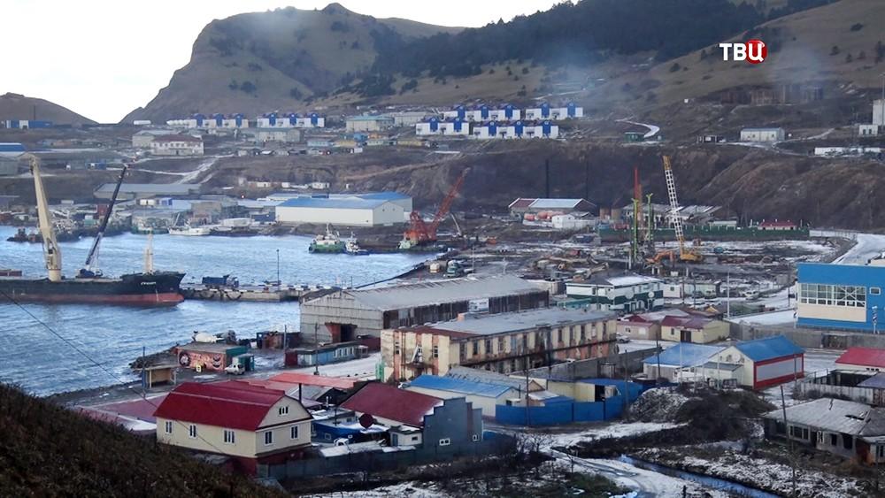 Поселок на Курильских островах