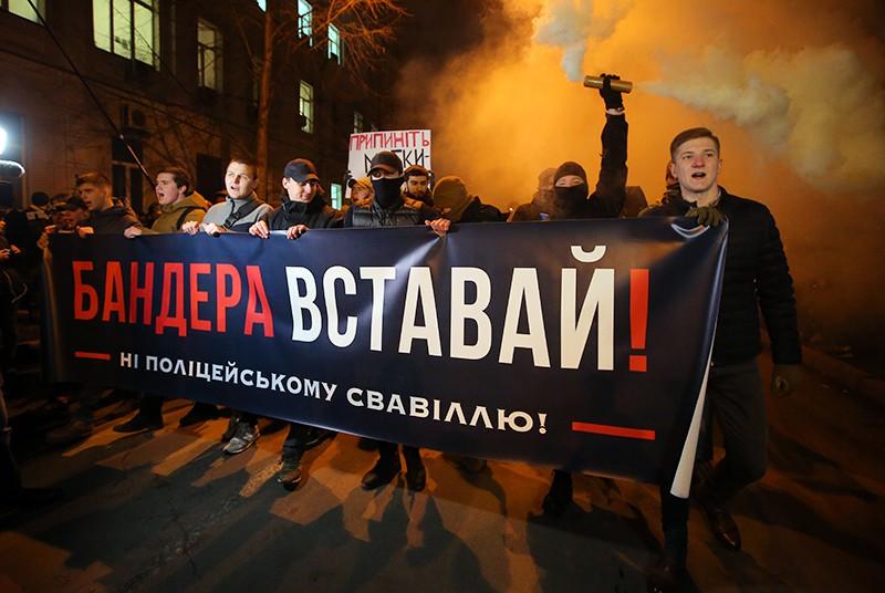 Акция украинских радикалов против полицейского произвола