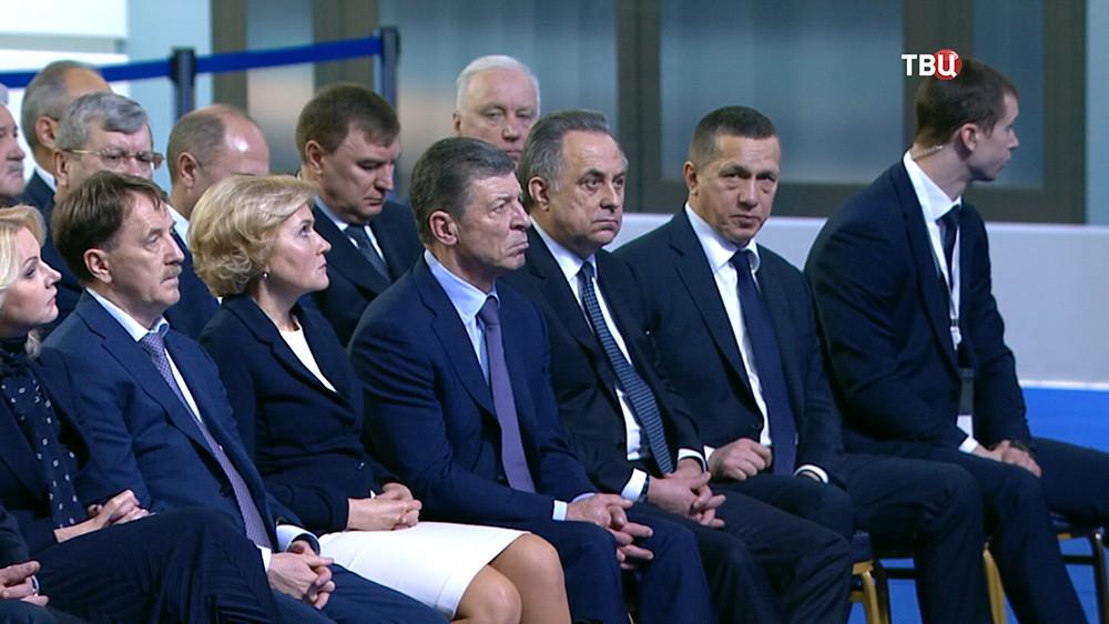 Члены правительства во время ежегодного послания Федеральному собранию