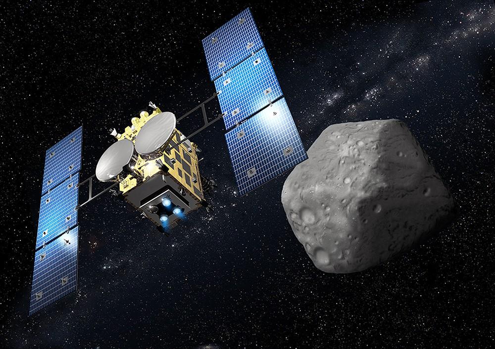 """Японский космический зонд """"Хаябуса-2"""" при подлёте к астероиду Рюгу"""