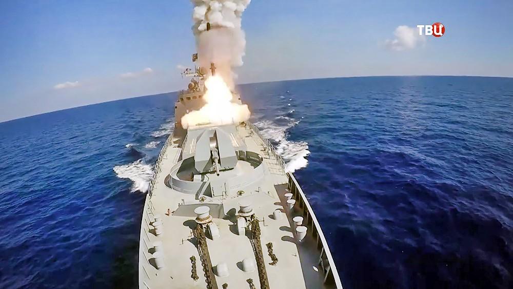 Пуск ракеты с корабля ВМФ России