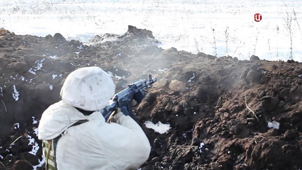 Военные учения мотострелковой бригады армии России
