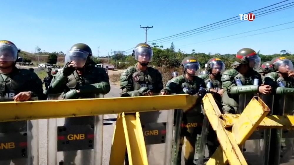 Полиция Венесуэлы на границе с Колумбией