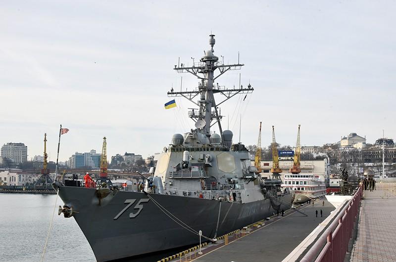 """Ракетный эсминец США """"Дональд Кук"""" в Одесском морском торговом порту"""