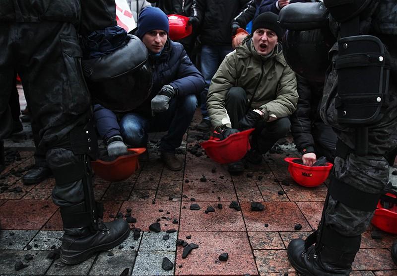 Участники акции протеста шахтёров