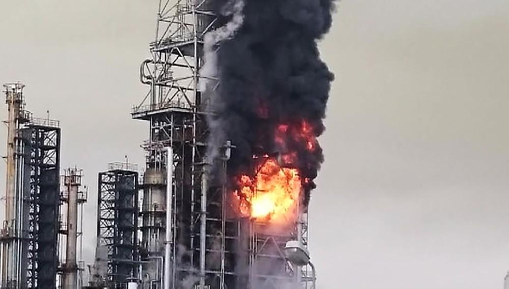 Пожар на нефтезаводе в Комсомольске-на-Амуре