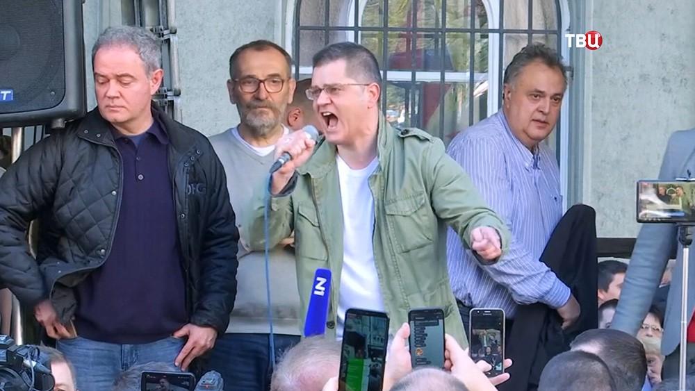 Лидеры оппозиции на митинге в Сербии