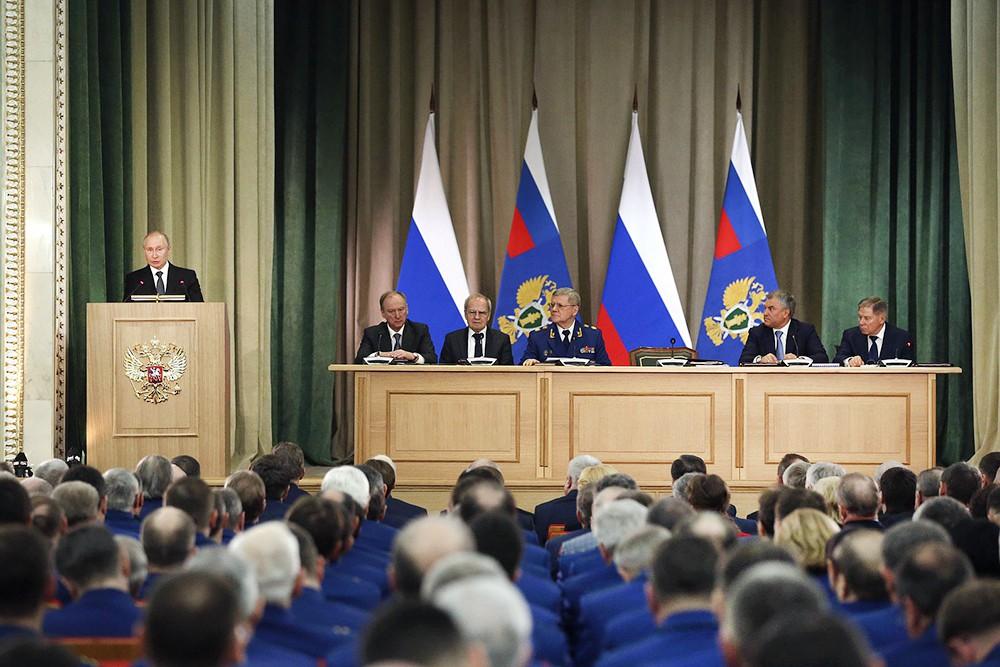 Владимир Путин на расширенном заседании коллегии Генпрокуратуры Российской Федерации