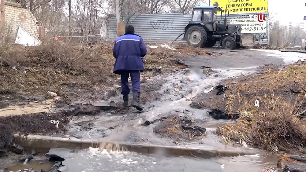 Устранение прорыва водопровода