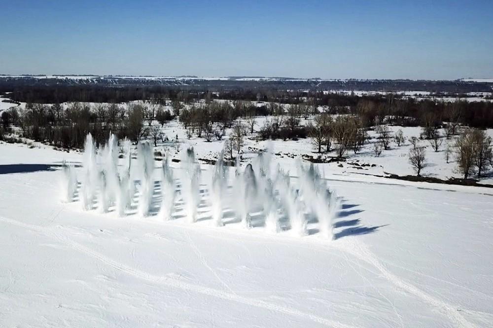 Подрыв льда в Челябинской области