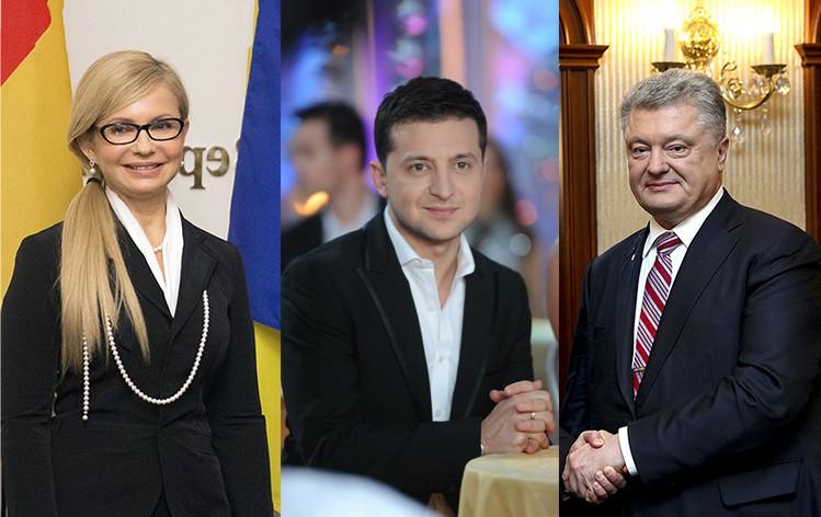 Коллаж: Владимир Зеленский, Петр Порошенко и Юлия Тимошенко
