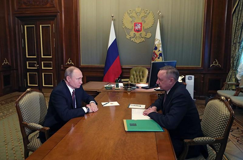 Владимир Путин и врио губернатора Санкт-Петербурга Александр Беглов