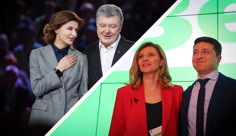 Петр Порошенко с супругой Мариной и Владимир Зеленский с супругой Еленой