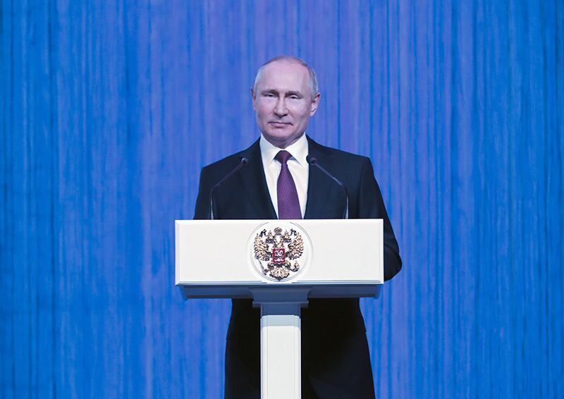 """Владимир Путин выступает на торжественном вечере """"Первые в космосе"""""""