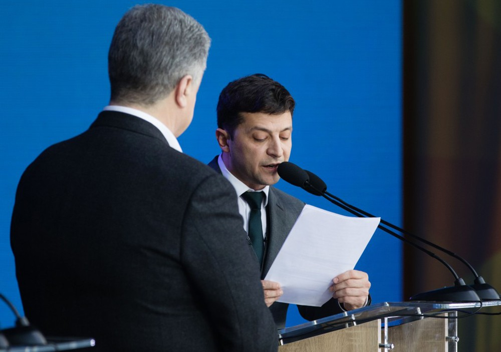 Владимир Зеленский Пётр Порошенко во время дебатов