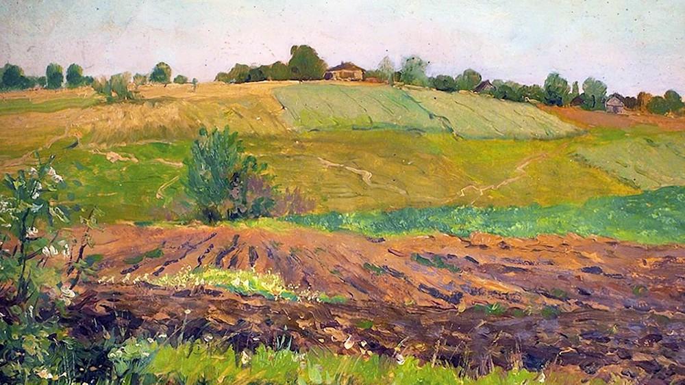 "Фрагмент картины художника Исаака Левитана ""Летний пейзаж. Пашня"""